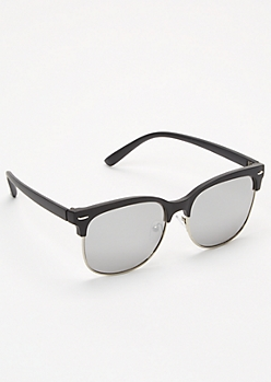 Black Mirrored Browline Sunglasses