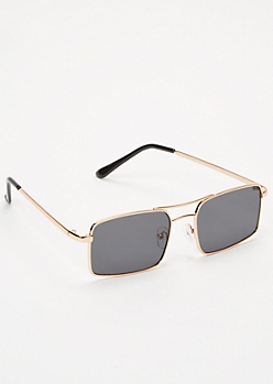 Gold Square Nose Bar Sunglasses