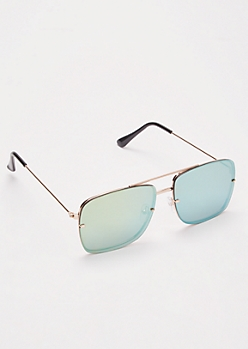 Green Mirror Square Aviator Sunglasses