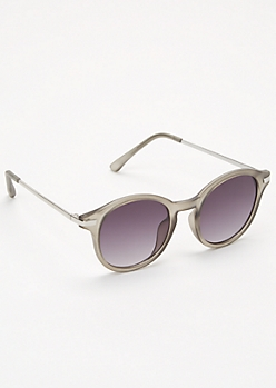 Gray Matte Round Browline Sunglasses