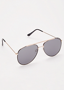Black Gold Brow Bar Aviator Sunglasses