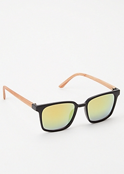 Yellow Faux Wood Sunglasses