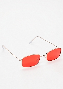Red Micro Rectangle Sunglasses