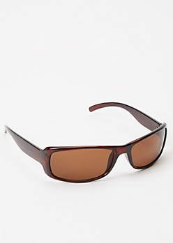 Brown Skinny Shield Sunglasses