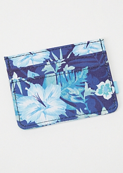 Blue Tropical Floral Print Wallet