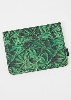 Green Weed Print Wallet