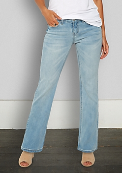 Light Wash Boot Cut Jeans in Short