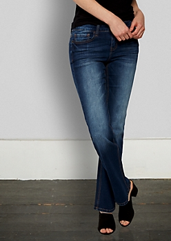 Dark Wash Sandblasted Boot Cut Jeans in Curvy