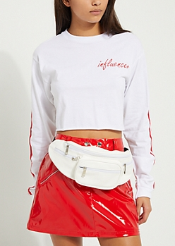 White Faux Leather Fanny Pack