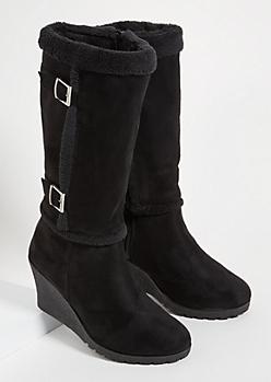 Black Sherpa Lined Wedge Heel Knee High Boots