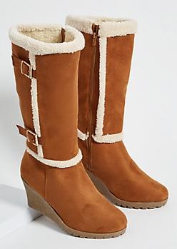 Cognac Sherpa Lined Wedge Heel Knee High Boots