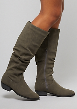 Gray Faux Leather Slouchy Flat Boots