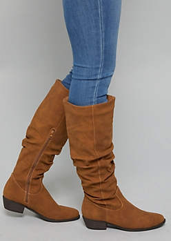 Cognac Faux Leather Slouchy Flat Boots