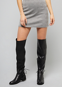 6b28ba25681 Black Faux Leather Heel Lace Up Over The Knee Boots