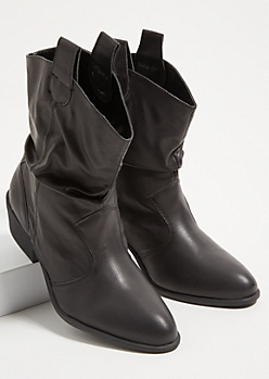 Black Slouchy Western Booties