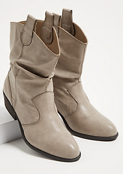 Gray Slouchy Western Booties