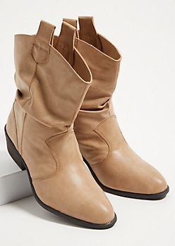 Tan Slouchy Western Booties