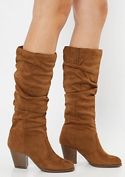 Camel Faux Suede Slouchy Knee High Boots