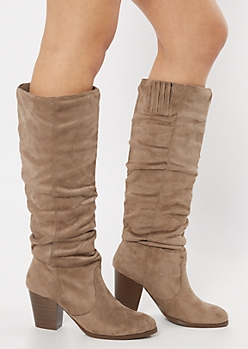 Taupe Faux Suede Slouchy Knee High Boots
