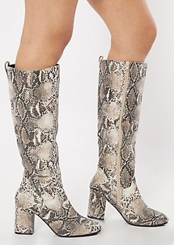 Snakeskin Print Heeled Knee Boots
