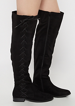 Black Side Lace Up Over The Knee Boots