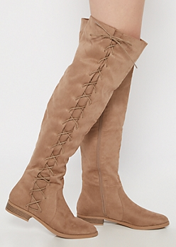 Taupe Side Lace Up Over The Knee Boots