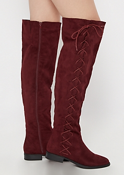 Burgundy Side Lace Up Over The Knee Boots