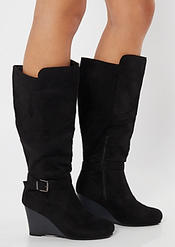 Black Faux Suede Buckle Wedge Knee High Boots