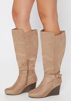 Taupe Faux Suede Buckle Wedge Knee High Boots