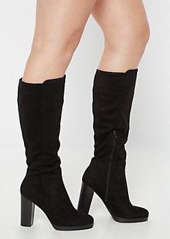 Black Platform Heeled Knee High Boots