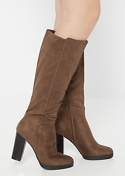 Taupe Platform Heeled Knee High Boots