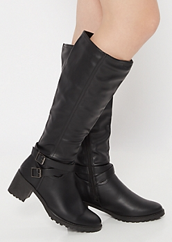 Black Side Buckle Faux Leather Knee Boots