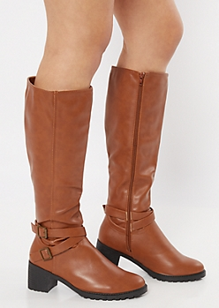 Cognac Side Buckle Faux Leather Knee Boots