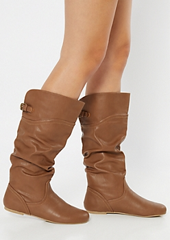 Cognac Buckled Slouchy Knee High Boots