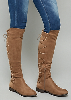 Taupe Lace Up Back Knee High Boots
