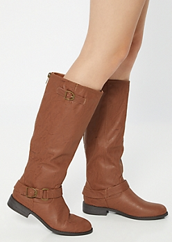 Brown Buckle Knee High Boots