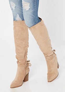 Tan Faux Suede Bow Knee High Boots