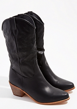Black Pointed Toe Western Boots