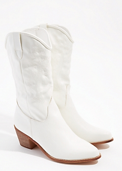 White Pointed Toe Western Boots