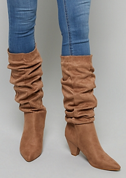 Taupe Cinched Knee High Heeled Boots