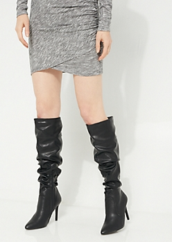 Scrunched Faux Leather Boots