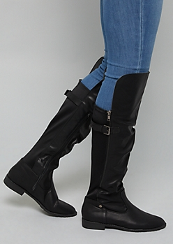 Black Faux Leather Buckle Knee High Boots