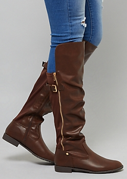 Brown Faux Leather Buckle Knee High Boots