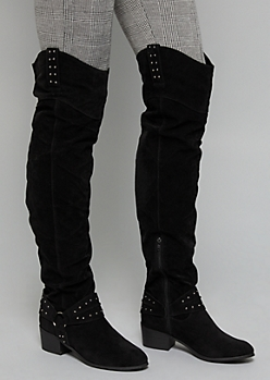 Black Studded Ankle Over The Knee Boots