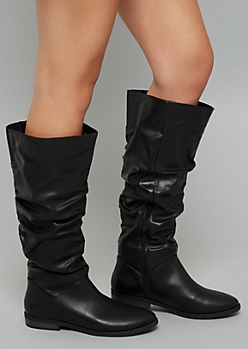 Black Faux Leather Slouchy Flat Boots