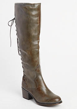 Gray Lace-Up Glossy Knee Boot