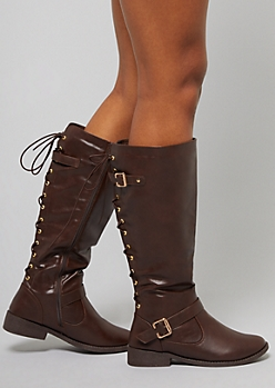 Brown Faux Leather Lace Up Knee High Boots