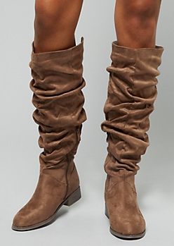 Taupe Slouchy Knee High Boots
