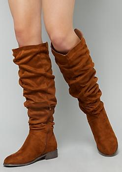 Cognac Slouchy Knee High Boots