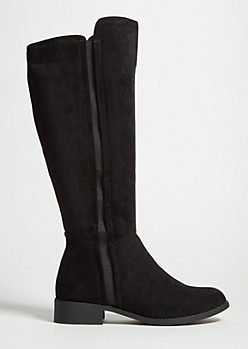 Black Faux Suede Knee High Boots